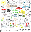 Spring season set doodles Hand drawn sketch vector 28530173