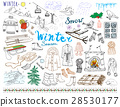 Winter season set doodles. Handdrawn set vector 28530177