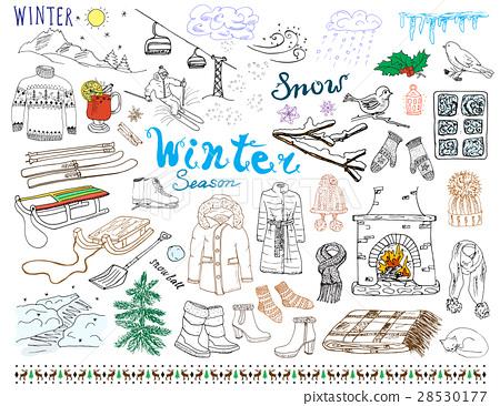 Winter season set doodles. Handdrawn set vector 28530177