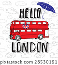 Hello London hand lettering, red bus vector 28530191