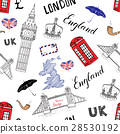 London city doodles seamless pattern. vector  28530192