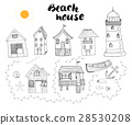Beach huts and bungalows, handdrawn outline set 28530208