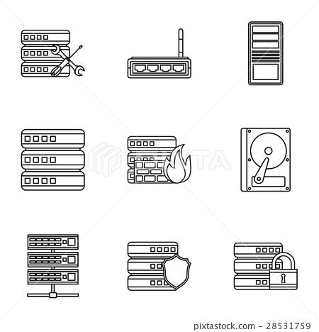 Computer setup icons set, outline style 28531759