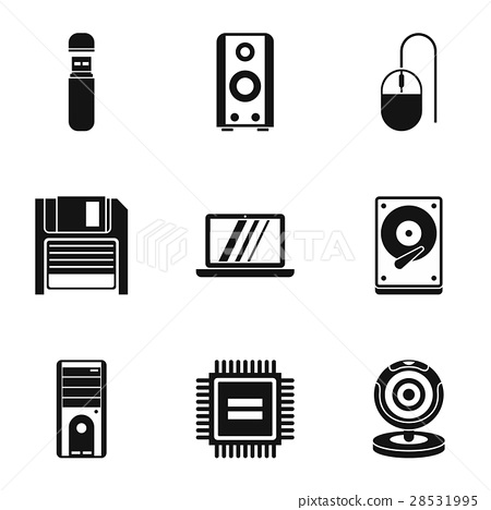 Computer setup icons set, simple style 28531995