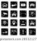 Parking set set icons, grunge style 28532127