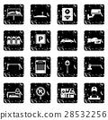 Car parking set icons, grunge style 28532256