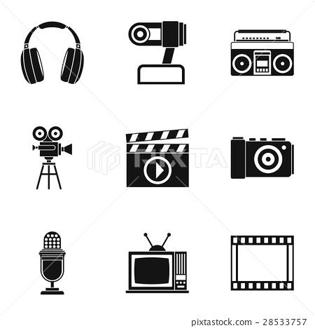 Communication device icons set, simple style 28533757