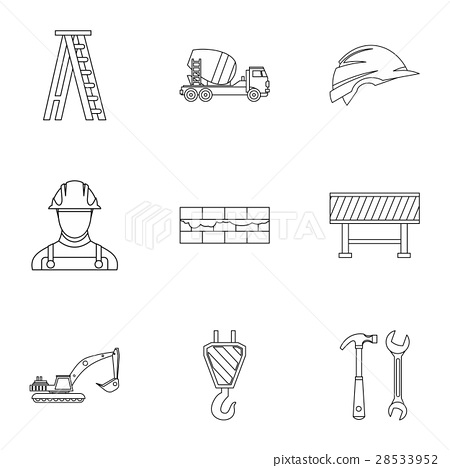 Building tools icons set, outline style 28533952