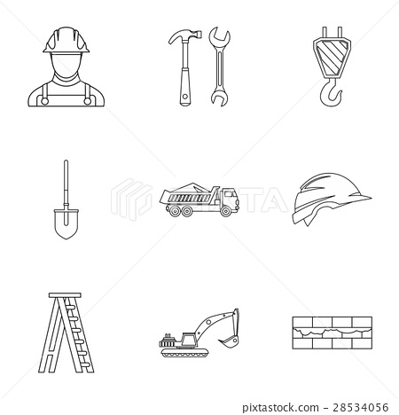 Construction icons set, outline style 28534056