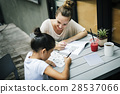 Woman And Girl Doing Homework Concept 28537066