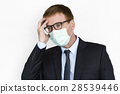 Businessman Unwell Face Mask Concept 28539446