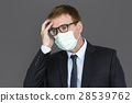 Businessman Unwell Face Mask Concept 28539762