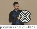 Caucasian Man Bullseye Dart Board Smiling 28540733
