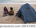 海灘 篝火 帳篷 28541995
