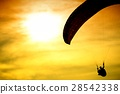 Silhouette of parachute on sunset 28542338
