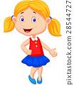 Cute girl cartoon presenting 28544727