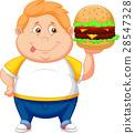 Fat boy smiling and ready to eat a big hamburger 28547328