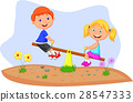 Kids riding on seesaw 28547333