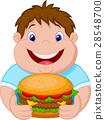 Fat boy smiling and ready to eat a big hamburger 28548700