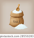 Sea salt in jute sack. Vector illustration 28550283