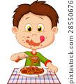Cartoon boy eating spaghetti 28550676