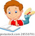 Cute boy cartoon reading book 28550701