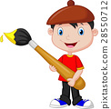 Little boy is painting with paintbrush 28550712