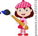 Little girl is painting with paintbrush 28550713