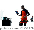 man cooking chef silhouette isolated 28551126