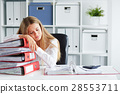 Tired woman sleeping in the office 28553711