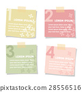 Set of sticky notes papers with flowers. Spring 28556516