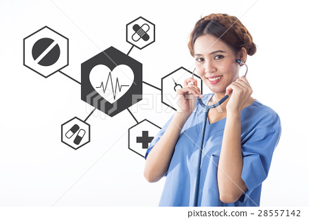Portrait of a medical doctor standing near a concr 28557142