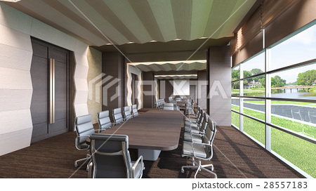 Conference room with natural view / 3D Rendering 28557183