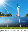 Solar Panels - Wind Turbine - Power Line 28557838