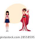 Japanese people - geisha in historical kimono and 28558595