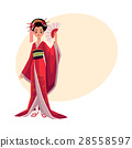 Japanese geisha in kimono holding fan, symbol of 28558597