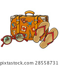 Flip flops, sunglasses, suitcase with tourist 28558731