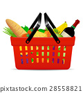 A red plastic shopping basket with groceries 28558821