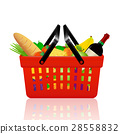 Red shopping basket with groceries 28558832