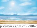 Vector  ocean  beach and mountain  background. 28559062
