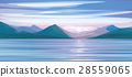 Vector   sea  sunset,   mountains  background. 28559065