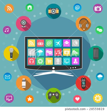 Smart TV flat design concept 28559819