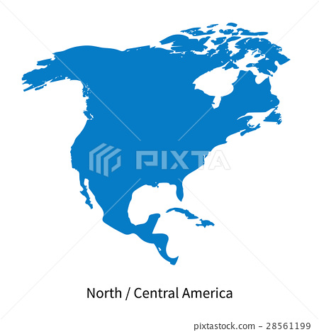 Detailed vector map of North and Central America - Stock ...
