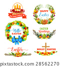 Easter holiday symbol with egg and flower wreath 28562270