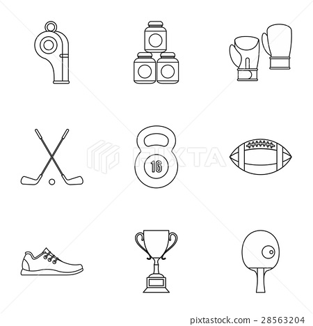 Sports equipment icons set, outline style 28563204