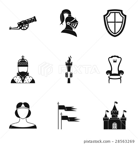 Military armor icons set, simple style 28563269