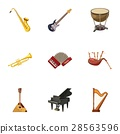 Musical tools icons set, cartoon style 28563596