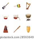 Tools for music icons set, cartoon style 28563649