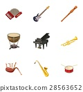 Musical device icons set, cartoon style 28563652