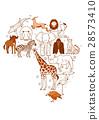 สัตว์,ภาพวาดมือ สัตว์,แอฟริกา 28573410